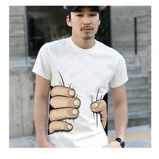 Hot Men's 3D Funny Big Hand Printed Catch You Short Sleeve Tops Tee T-shirts Y2