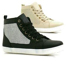 LADIES FLAT HI HIGH TOP TRAINERS SPORT ANKLE BOOTS LACE UP TRAINERS SHOES SIZES