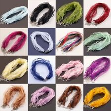 10/20/100Pcs 16Colors Organza Voile Ribbon Necklace Silk Cord Clasp 43cm+5cm