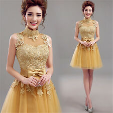 Gold color Lace Formal Evening Prom Dress Cocktail Club Short Dress Bowknot Q365