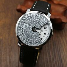 PAIDU Stainless Steel PU Leather Band Turntable Dial Quartz Wrist Watch Gifts
