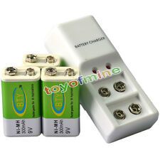 3x 9V BTY Green 300mAh Ni-Mh Rechargeable Battery + Dual Batteries Charger
