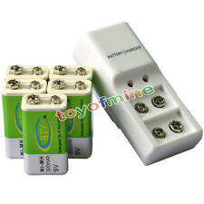5x 9V 6F22 PPS 300mAh Ni-Mh Rechargeable Battery + Dual Batteries Charger