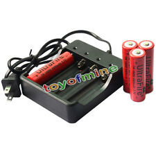 4 x 3.7V 18650 UF Li-ion 6800mAh Rechargeable Battery for LED Torch + Charger