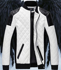 New Men's motorcycle jackets casual Collar stitching leather jacket coat outwear