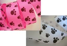 "25 yards Roll Dog Paw 7/8"" Grosgrain Print Ribbon/Craft/Supply R85-Pink OR White"