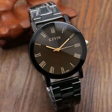 New KEVIN Roman Numerals Round Dial Stainless Steel Band Quartz Wrist Watch Gift