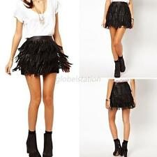 Stylish Womens Lady Faux Leather Fringe Cover High Waist A-Line Mini Skirt S-XXL
