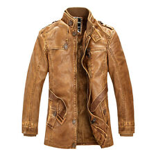CHEAP Vintage Fashion Men Winter Trench Coat PU Leather Motorcycle Jacket Parka