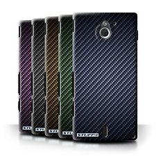 STUFF4 Back Case/Cover for Sony Xperia Sola/MT27i/Carbon Fibre Effect/Pattern