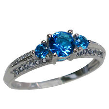 BRILLIANT THREE STONE ROUND CUT BLUE TOPAZ 925 STERLING SILVER RING SIZES J-T