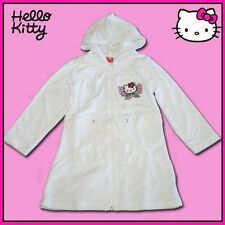 Hello Kitty Bath Robe Dressing Gown Embroidery Motif Zip Hood Belt White