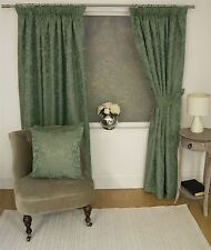 JACQUARD FLORAL DAMASK GREEN LINED PENCIL PLEAT CURTAINS *10 SIZES*
