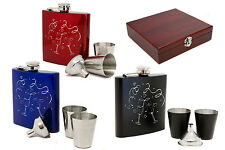 Personalised 6oz Stainless Steel Hip flask Set & Gift Box, Engraved Wedding Gift