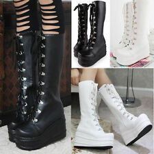 Womens Mid Calf Knee High Boots Lace up Platform Goth Punk Combat Military Boot#