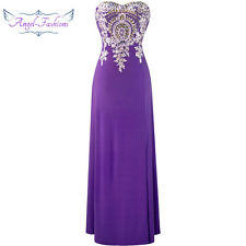 Strapless Embroidery Applique Beaded Full Length Evening Dresses  Purple 168