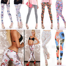 New Fashion Women Floral Pattern Punk Funky Leggings Stretchy Tight Pencil Pants