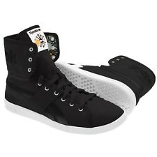 New Reebok Top Down Womens Black Canvas Retro Hi Tops Trainers Sneakers High Mid