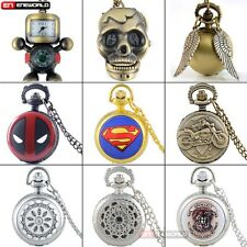 Steampunk Antique Skeleton Pocket Watch Lot Quartz Pendant Necklace Retro Gift