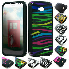 For LG Optimus Exceed 2 Realm Ultimate 2 Hybrid Armor Design Slim Case w/Screen