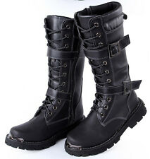 New Mens riding Long knee high boots lace up Motor Military zip up PU leather sz