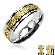 TWO TONE GOLD PLATED MENS or WOMENS WEDDING RING size 5 6 7 8 9 10 11 12 13 14
