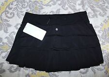 Lululemon tennis running black PACE-SETTER shorts skirt Women's 4 6 8 10 R / T