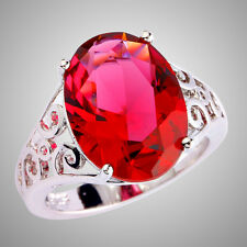 Free Shipping Oval Cut Solitare Ruby Spinel Gemstones Silver Ring Size 7 8 9 10