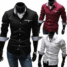 New Fashion Men's Luxury Long Sleeve Casual Slim Fit Stylish Dress Shirts Tops