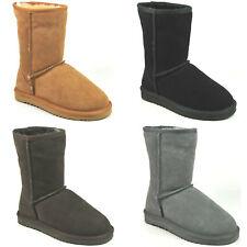 WOMENS DESIGNER MOJO SHORT SNUGG SUEDE FUR LINED FLAT WINTER BOOTS SIZES 3-8 NEW