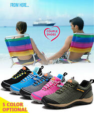 Womens Mens Mesh Breathable Sneakers Lightweight  Hiking Travel Lace-up Shoes