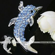 Blue Clear Crystal Dolphin Bead 1x Silver Plated Charm Pendant for Necklace HOT