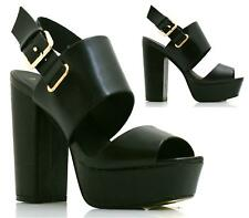 WOMENS HIGH BLOCK HEEL CHUNKY SOLE PLATFORM LADIES STRAPPY SANDAL SHOES SIZE
