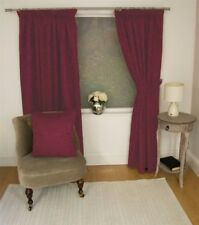 JACQUARD FLORAL DAMASK WINE RED LINED PENCIL PLEAT CURTAINS 10 SIZES