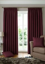 WOVEN JACQUARD SQUARES WINE RED LINED PENCIL PLEAT CURTAINS 9 SIZES