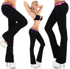 Sexy Women's Low Cut Bootcut Jeans Hipster Black Pants Inc Belt Siz 6,8,10,12,14
