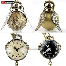 Round Ball Eye Shape Quatrz Antique Pocket Watch Chain Necklace Pendant Gift UK