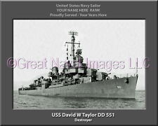 USS David W Taylor DD 551 Personalized Canvas Ship Photo Print Navy Veteran Gift