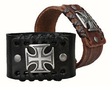 1pcs Genuine Leather Bracelet Cross Style Wholesale Lot Leather Wristband SLD085