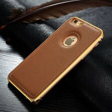 Slim Luxury Genuine Leather Back Aluminum Bumper Case Cover For iPhone/Samsung