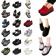 2015 FASHION LADIES THICK PLATFORM LACE UP WOMENS FLATS CREEPERS GOTH PUNK SHOES