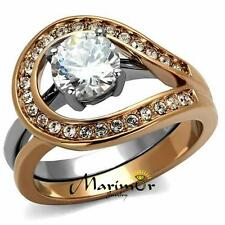 Stainless Steel 1.6 Ct Cz Rose Gold I.P. 2 Piece Wedding Ring Set Womens Sz 5-10