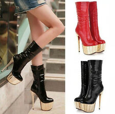 Womens Sexy Stiletto High Heels Metal Chain Warm Snow Platform Ankle Boots shoes