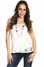 DEALZONE Fascinating Double Layer Lace Top S M L Small Medium Large Women USA