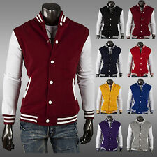 New Jacket Slim Fit Casual Button Stylish Coat Splice Hoodie Baseball Men