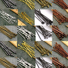 Lots 50/200Pcs Eye Pins Flat Head Pins Ball Pins Needles Findings DIY 16-60mm