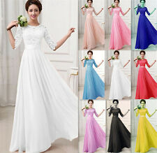 Women Long Lace Chiffon Evening Formal Party Cocktail Maxi Dress Bridesmaid Prom