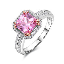 2.3Ct 925 Sterling Silver Princess Pink Sapphire Gemstone Ring Cocktail Sz 5-10