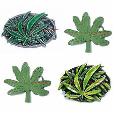 BBUM0185 CASUAL STYLE MARIJUANA POT LEAF WEED CANNABIS PLANT ALLOY BELT BUCKLE