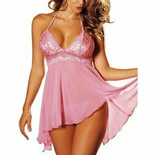 Womens Ladies Sexy Lingerie Nightgown Sleepwear Set Babydoll Lace Dress+G-string